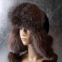 Женская меховая шапка Ушанка из фроста