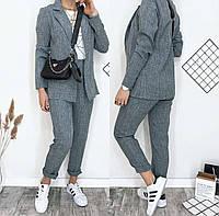 Жіночий брючний костюм сірий джинс, фото 1