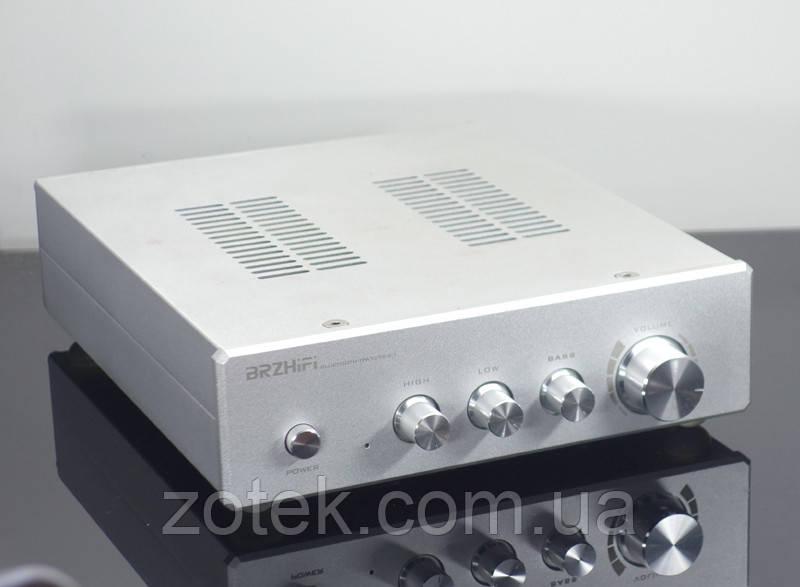 Усилитель звука BRZHIFI 2.1 TPA3255 *2шт. Bluetooth 150Вт*2 + 300Вт QCC3034 aptx-HD 220V в сером корпусе