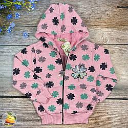 Розовая кофта с капюшоном и начёсом для подростка Размеры: 128,134,140,146,152 см (02358-2)