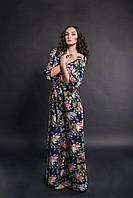 Платье в пол Джордан цветочный принт синий