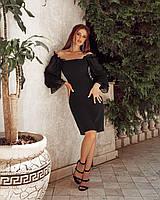 Женское нежное платье по фигуре с открытыми плечами и шифоновыми пышными рукавами на резинке, фото 1