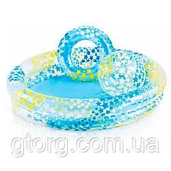 Дитячий надувний басейн Intex 59460 «Зірки» 122 х 25 см, з надувним кругом і м'ячем, блакитний