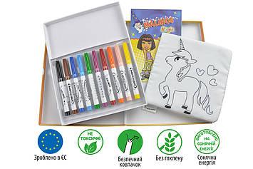 Фломастеры детские смываемые для малышей MALINOS Babyzauber 10 шт + текстильная книжка раскраска многоразовая