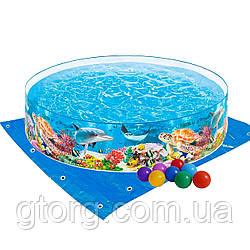 Басейн дитячий надувний Intex 58472-2 «Океанський риф», 244 х 46 см, з кульками 10 шт, підстилкою