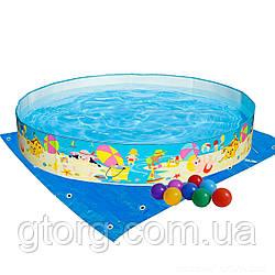 Басейн дитячий надувний Intex 56451-2 «Пляж на мілководді», 152 х 25 см, з кульками 10 шт, підстилкою