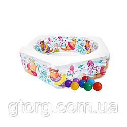 Дитячий надувний басейн Intex 56493-1 «Океанський Риф», 191 х 178 х 61 см, з кульками 10 шт