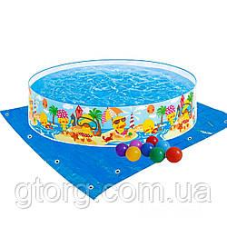 Дитячий каркасний басейн Intex 58477-2 «Утинный риф», 122 х 25 см, з кульками 10 шт, підстилкою