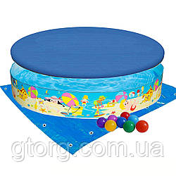 Басейн дитячий надувний Intex 56451-3 «Пляж на мілководді», 152 х 25 см, з кульками 10 шт, тентом,