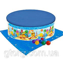 Дитячий каркасний басейн Intex 58477-3 «Утинный риф», 122 х 25 см, з кульками 10 шт, тентом, підстилкою
