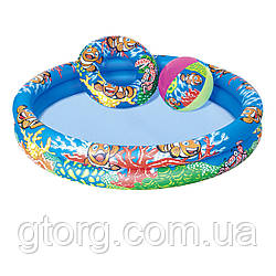 Дитячий надувний басейн Bestway 51124 «Рибки» 112 х 20 см, з м'ячиком і колом