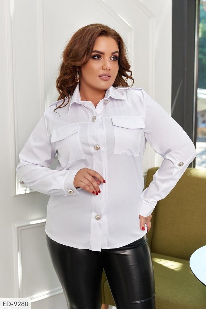 Жіноча стильна сорочка класична ділова з довгим рукавом великих розмірів батал р-ри 50-56 арт. 0169