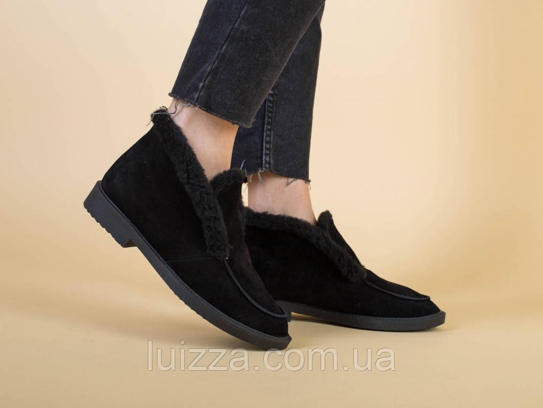 Жіночі чорні замшеві черевики