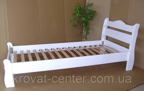 """Белая односпальная кровать """"Грета Вульф"""". Массив - сосна, ольха, береза, дуб., фото 2"""