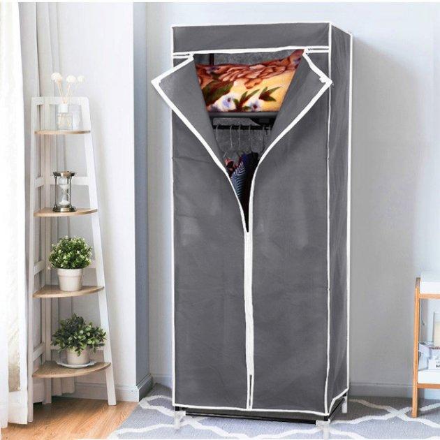 Портативный шкаф-органайзер Hanging Clothes тканевый на 2 секции с быстрой сборкой (Серый)