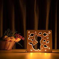 """Світильник нічник ArtEco Light з дерева LED """"Кіт і рибки"""" з пультом і регулюванням світла, колір теплий білий, фото 1"""