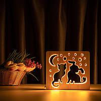 """Светильник ночник ArtEco Light из дерева LED """"Кот и собачка"""" с пультом и регулировкой света, цвет теплый белый, фото 1"""