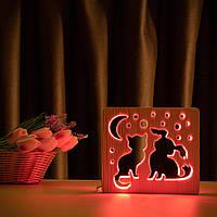 """Светильник ночник ArtEco Light из дерева LED """"Кот и собачка"""" с пультом и регулировкой цвета, RGB, фото 1"""