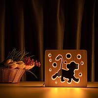 """Светильник ночник ArtEco Light из дерева LED """"Веселый львенок"""" с пультом и регулировкой света, цвет теплый, фото 1"""