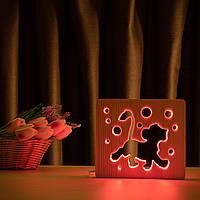 """Светильник ночник ArtEco Light из дерева LED """"Веселый львенок"""" с пультом и регулировкой цвета, RGB, фото 1"""