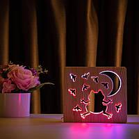 """Светильник ночник ArtEco Light из дерева LED """"Лягушка и сверчки"""" с пультом и регулировкой цвета, двойной RGB, фото 1"""