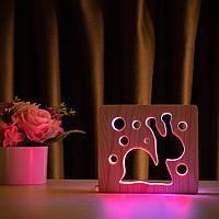 """Светильник ночник ArtEco Light из дерева LED """"Улитка"""" с пультом и регулировкой цвета, двойной RGB, фото 1"""
