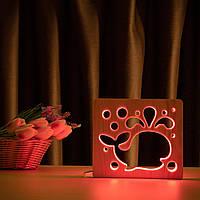 """Светильник ночник ArtEco Light из дерева LED """"Кит"""" с пультом и регулировкой цвета, RGB, фото 1"""