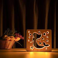 """Светильник ночник ArtEco Light из дерева LED """"Русалочка"""" с пультом и регулировкой света, цвет теплый белый, фото 1"""
