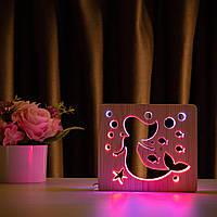 """Світильник нічник ArtEco Light з дерева LED """"Русалонька"""" з пультом і регулюванням кольору, подвійний RGB, фото 1"""