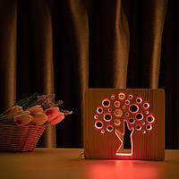 """Светильник ночник ArtEco Light из дерева LED """"Деревце"""" с пультом и регулировкой цвета, RGB, фото 1"""