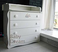 Комод пеленальный Magic Baby Dream белый c 3D декором мишкой