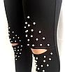 Женские лосины -  оптом - 156-ол - Модные женские лосины с жемчугом и прорезями на коленях, фото 5