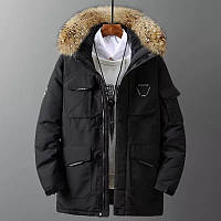 Мужская зимняя куртка пуховик с меховой опушкой. РАЗМЕРЫ 46-52, до -20°С, фото 1