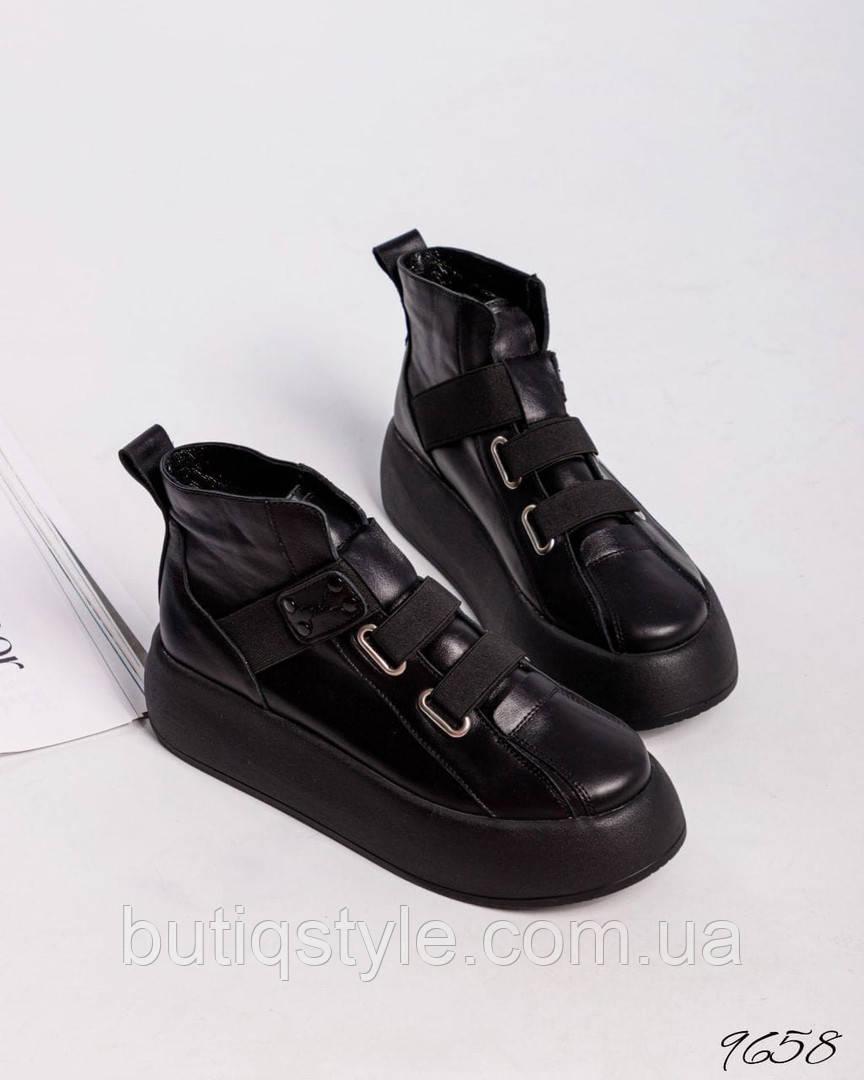 Женские черные ботинки натуральная кожа Деми