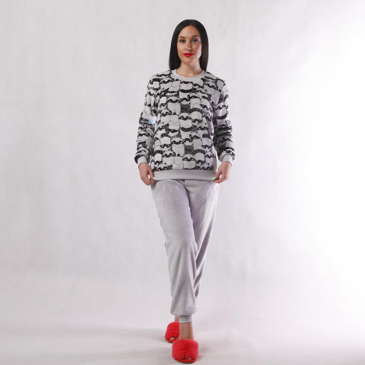 "Tiana style / Женская махровая теплая пижама ""Енотик""   р. 54 46-48"