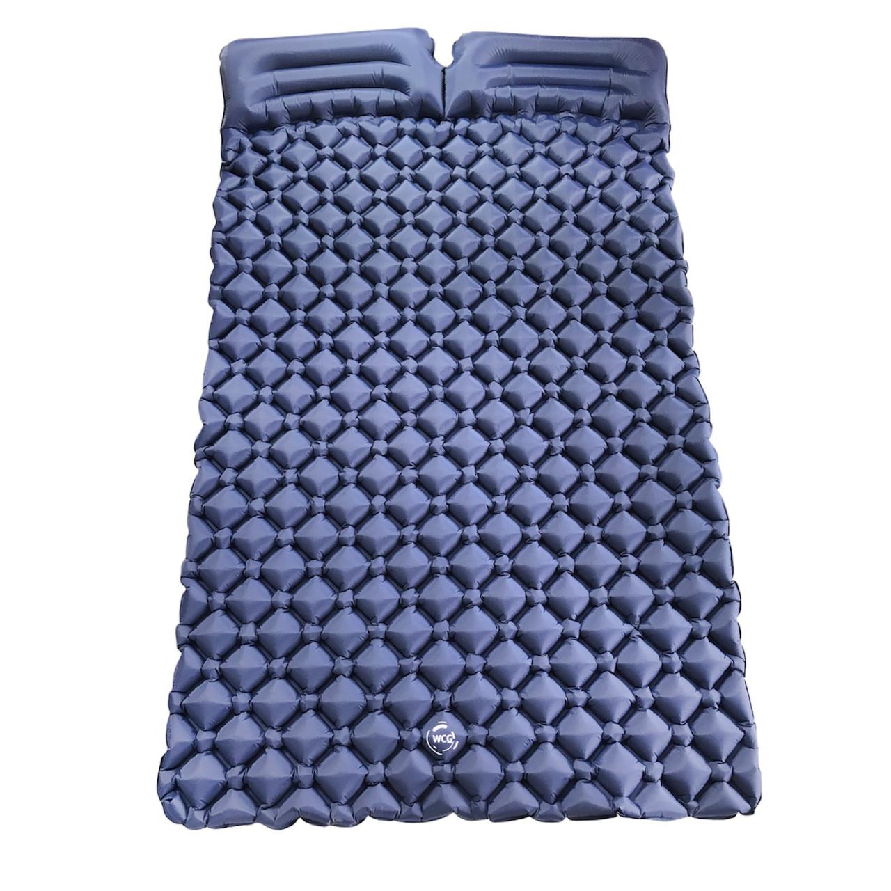 Двухместный надувной каремат походный, туристический WCG для кемпинга (синий)