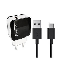 СЗУ Evoc Travel Charger 2.0 A + Type-C Cable (3202MU) Black