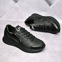 Мужские кожаные кроссовки Nike Черные, фото 1