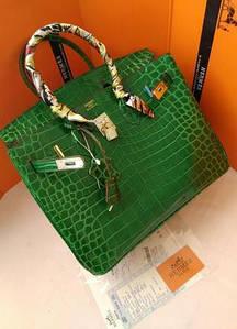 Женская сумка Hermes Birkin реплика в цвете зеленая рептилия