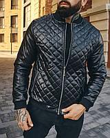 Молодежная куртка кожаная мужская весенняя/осенняя, кожанка демисезонная, мужская ветровка Люкс качество