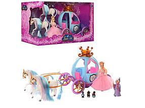 Карета 778397/201 лялька Попелюшка, 2 коні, фея, миші, світло, 11186 ТМ КИТАЙ