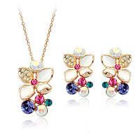 Комплект ЦВЕТА ЛИЛИИ ювелирная бижутерия золото 18К декор кристаллы Swarovski