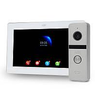 """Комплект Wi-Fi відеодомофонa 7"""" ATIS AD-770FHD/T-White з підтримкою Tuya Smart + AT-400FHD Silver"""