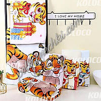 Лицевое полотенце велюр-махра Тигрята (6)