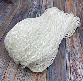 Полиэфирный шнур для вязания сумочек и рюкзаков без сердечника 4 мм 100 м (белый) 127