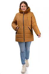 Фабричная зимняя женская удлиненная куртка горчичного цвета