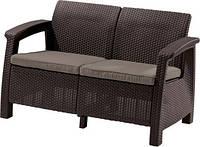 Диван для сада и террасы Keter CORFU LOVE SEAT 223214 коричневый Allibert