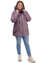 Зимняя женская батальная куртка прямого кроя