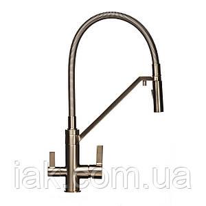 Змішувач для кухні під осмос TOPAZ SARDINIA TS 8812-H24-PVD-S нікель