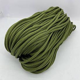 Полиэфирный шнур для вязания сумочек и рюкзаков без сердечника зернистый 5 мм 100 м (оливковый)128